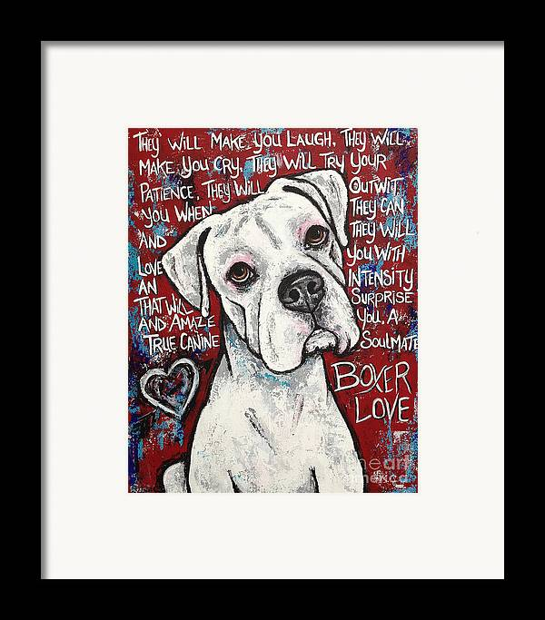 Boxer Framed Print featuring the painting Boxer Love by Stephanie Gerace