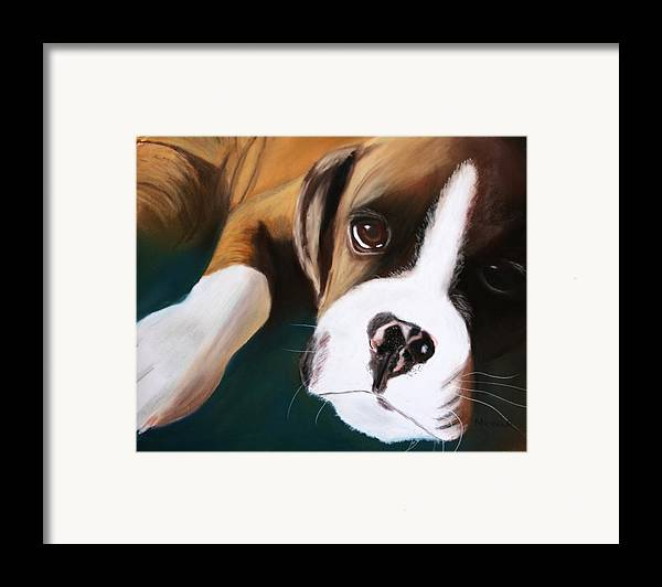 Dogs Framed Print featuring the pastel Boxer by Michele Turney