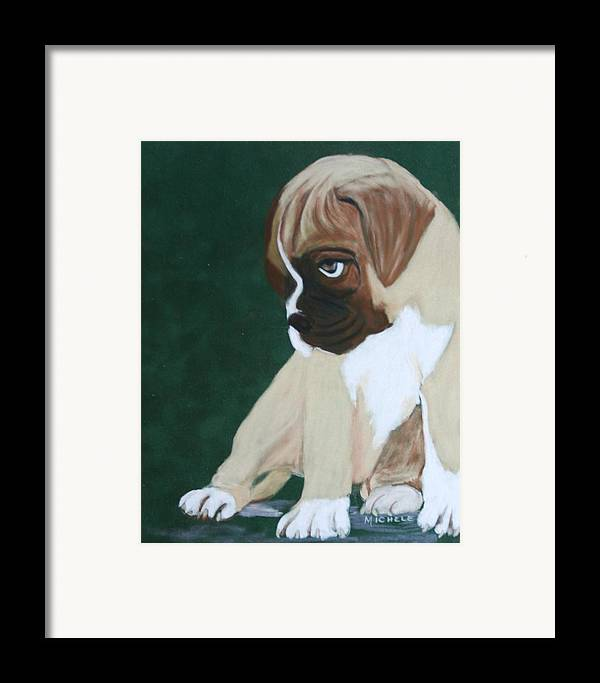 Dogs Framed Print featuring the pastel Boxer Pup by Michele Turney