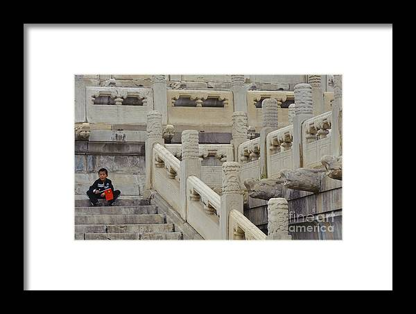 Asian Architecture Framed Print featuring the photograph Boy With Chinese Flag by John Shaw