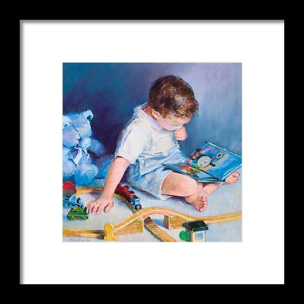 Child Framed Print featuring the pastel Boy With Train by Beverly Amundson