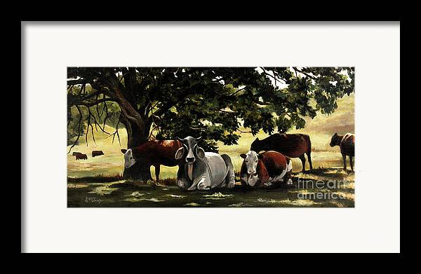 Cows In Pasture Framed Print featuring the painting Brahma's Mamas by Suzanne Schaefer