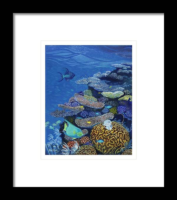 Florida Framed Print featuring the painting Brain Coral by Alan Mintz