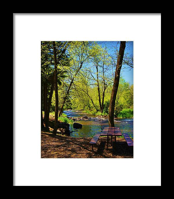 Collections By Carol Framed Print featuring the photograph Brainards Bridge Park Waupaca Wi by Carol Toepke