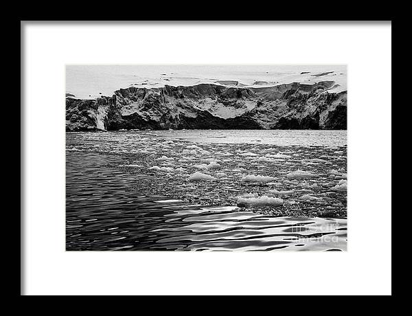 Glacier Framed Print featuring the photograph brash sea ice forming in front of glacier wall face port lockroy Antarctica by Joe Fox