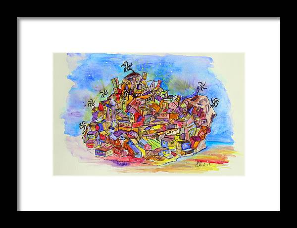 Abstract Version Of An Brasilian Favela. Framed Print featuring the painting Brasilian Favela by Henning Mogen