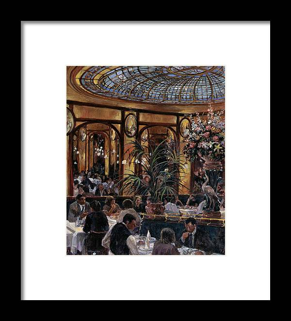 Restaurant Framed Print featuring the photograph Brasserie Bofinger In The Rue De La Bastille, Paris, 1999 Oil On Canvas by Rosemary Lowndes