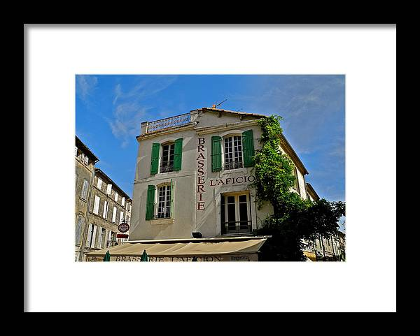 Brasserie L'afcion Framed Print featuring the photograph Brasserie L'Aficion in Arles by Kirsten Giving