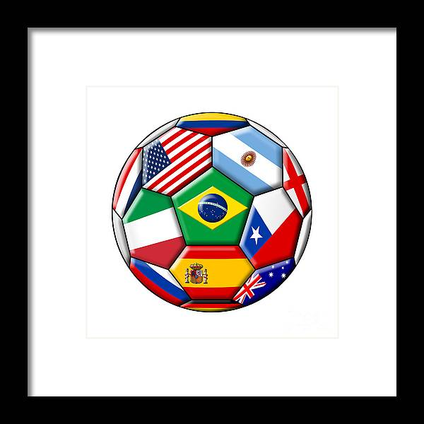 2014 Framed Print featuring the digital art Brazil 2014 - Soccer With Various Flags by Michal Boubin