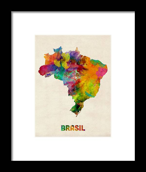 Map Art Framed Print featuring the digital art Brazil Watercolor Map by Michael Tompsett