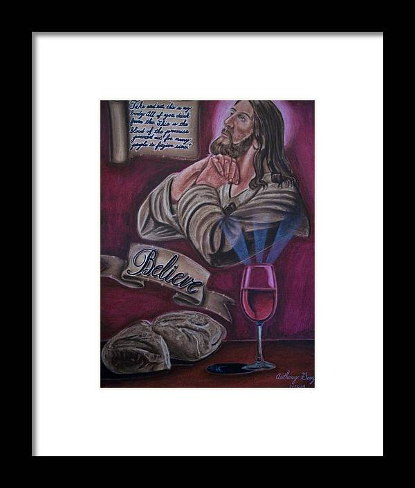 Jesus Framed Print featuring the pastel Bread And Wine by Anthony Gonzalez