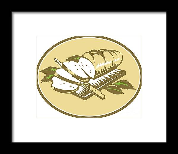 Loaf Framed Print featuring the digital art Bread Loaf With Knife And Board Woodcut by Aloysius Patrimonio