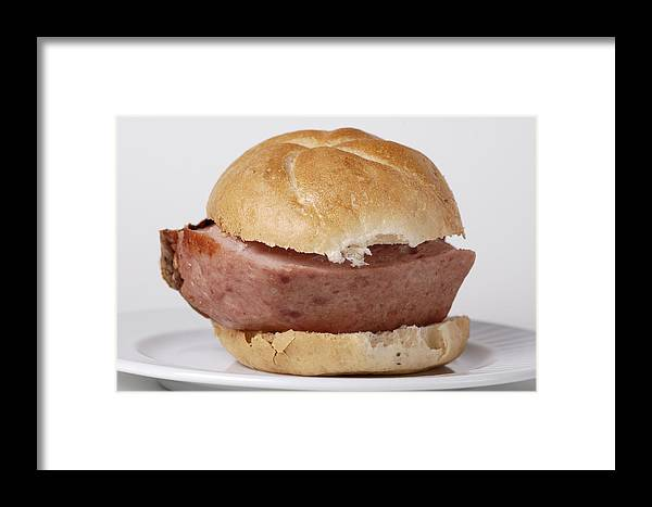 Food Framed Print featuring the photograph Bread Roll With Thick Slice Leberkaese - German Food by Matthias Hauser