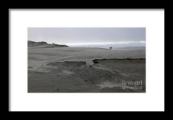 Blowing Sand Formation With Ocean Background Framed Print featuring the photograph Break In The Storm by Susan Garren