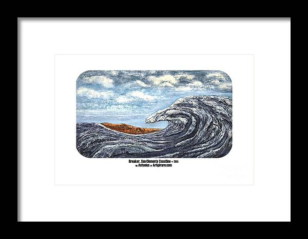 Relief Framed Print featuring the painting Breaker San Clemente by ArSpirare by Antonius