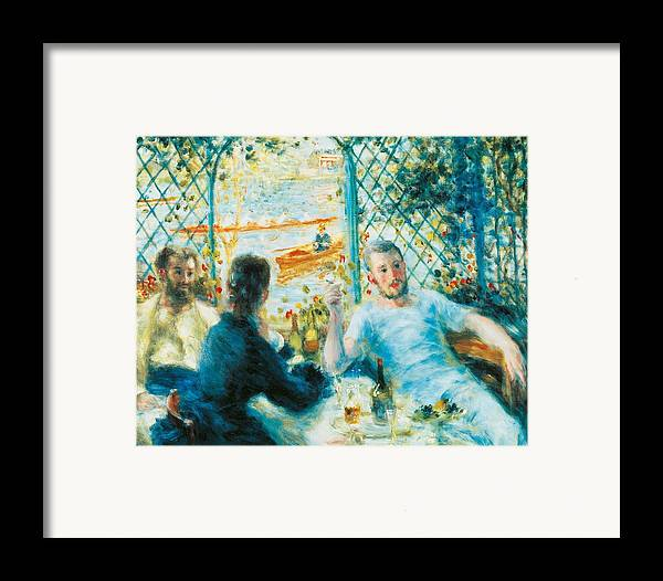 Art Framed Print featuring the painting Breakfast By The River by Pierre-Auguste Renoir
