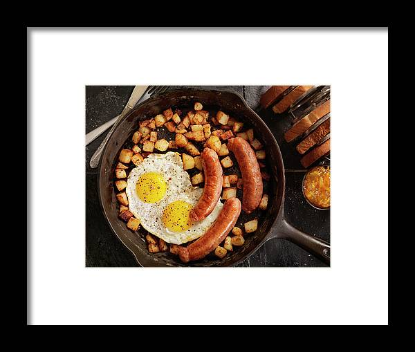 Breakfast Framed Print featuring the photograph Breakfast With Sunny Side Up Eggs And by Lauripatterson
