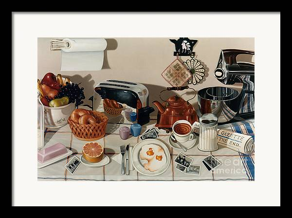 Still Life Framed Print featuring the painting Breakfast With The Beatles - Skewed Perspective Series by Larry Preston