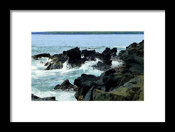 Rocks Framed Print featuring the photograph Breaking Waves At Keei by Lori Seaman