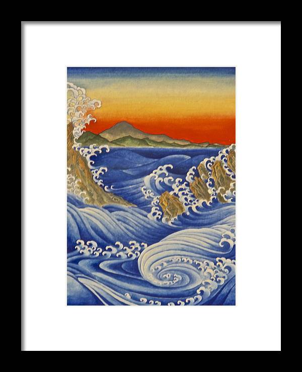 Water Framed Print featuring the painting Breaking Waves by Nicola Mountney