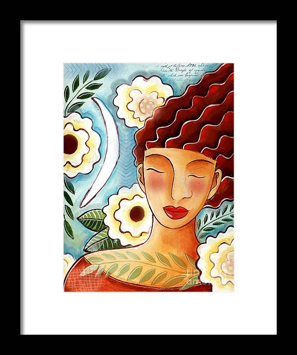 Figurative Framed Print featuring the mixed media Breathing in the Moment by Elaine Jackson