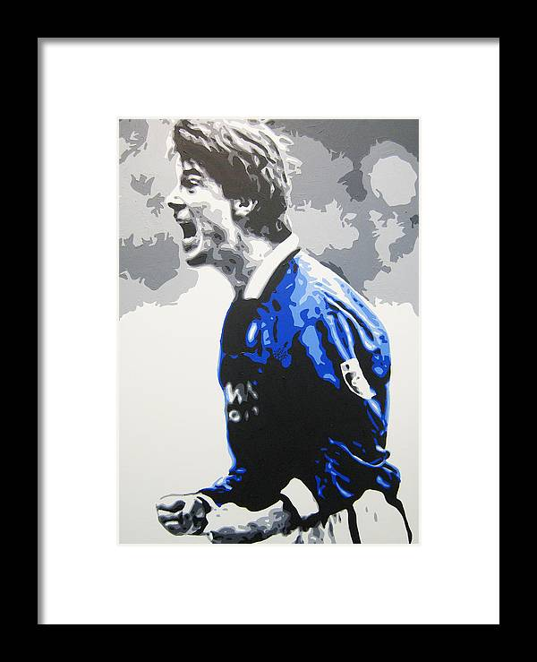 Brian Laudrup Framed Print featuring the painting Brian Laudrup - Glasgow Rangers Fc by Geo Thomson
