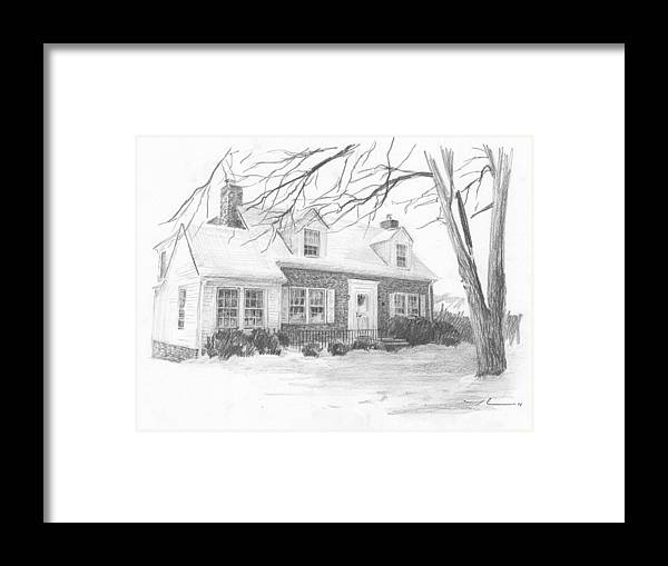 <a Href=http://miketheuer.com Target =_blank>www.miketheuer.com</a> Brick Cottage Pencil Portrait Framed Print featuring the drawing Brick Cottage Pencil Portrait by Mike Theuer