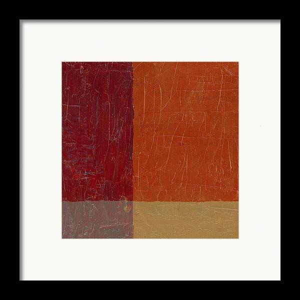Abstract Framed Print featuring the painting Bricks And Reds by Michelle Calkins