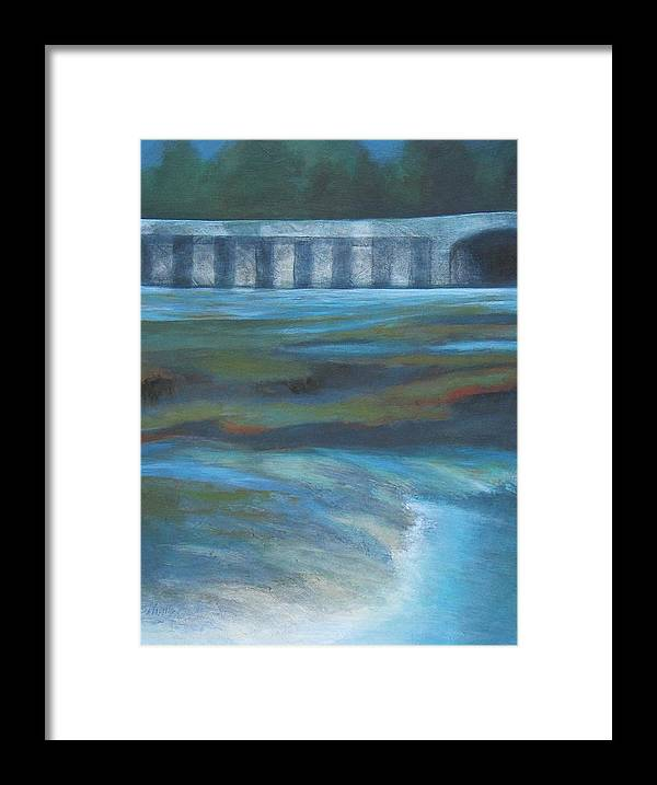 Bridge Framed Print featuring the painting Bridge In Flood Stage by Bonnie Schulte