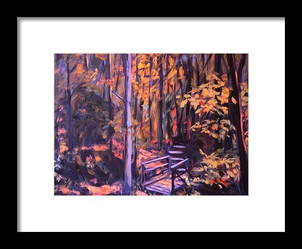 Woods Framed Print featuring the painting Bridge In Woods Near Pandapas by Kendall Kessler