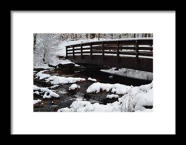 Landscape Of A Bridge And Water Taken In Clarence Town Park Framed Print featuring the photograph Bridge by Mary Lisa Pritchard