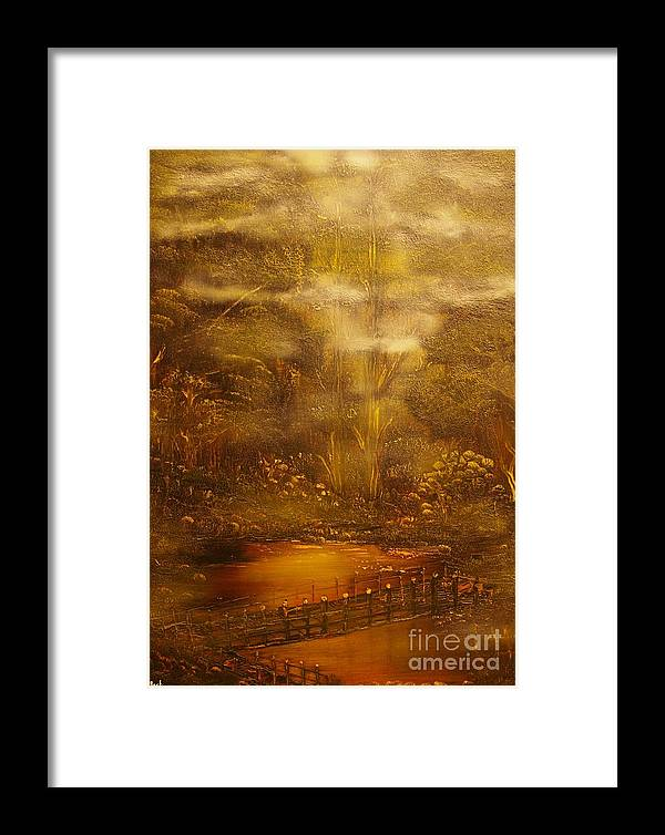 Landscape Framed Print featuring the painting Bridge Over Muddy Waters- Original Sold - Buy Giclee Print Nr 35 Of Limited Edition Of 40 Prints  by Eddie Michael Beck