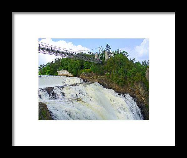 Bridge Framed Print featuring the photograph Bridge Over Rushing Water by Lingfai Leung