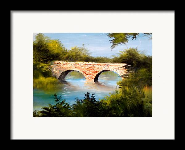 Landscape Framed Print featuring the painting Bridge Under El Dorado Lake by Robert Carver