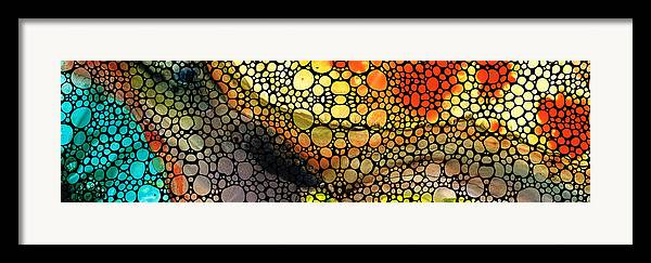 Stones Framed Print featuring the painting Bridging The Gap - Stone Rock'd Art Print by Sharon Cummings