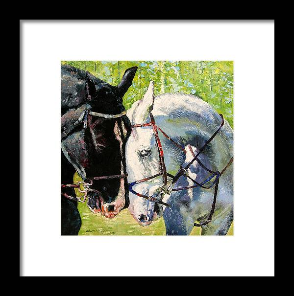 Horses Framed Print featuring the painting Bridled Love by John Lautermilch