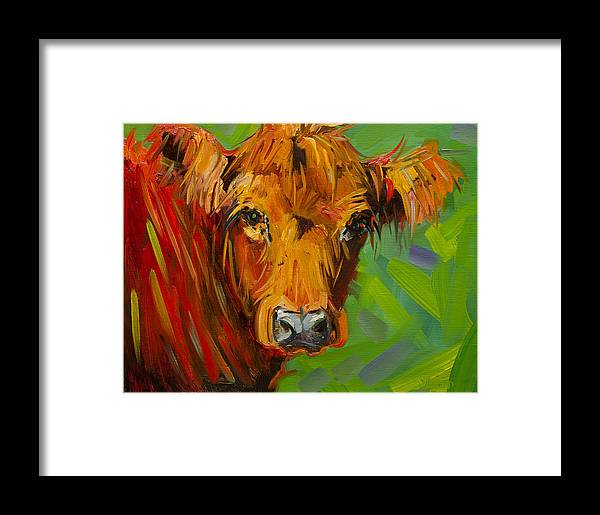 Cow Framed Print featuring the painting Bright And Beautiful Cow by Diane Whitehead