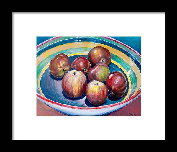 Apples Framed Print featuring the painting Red Apples In Striped Bowl by Jennifer Lycke