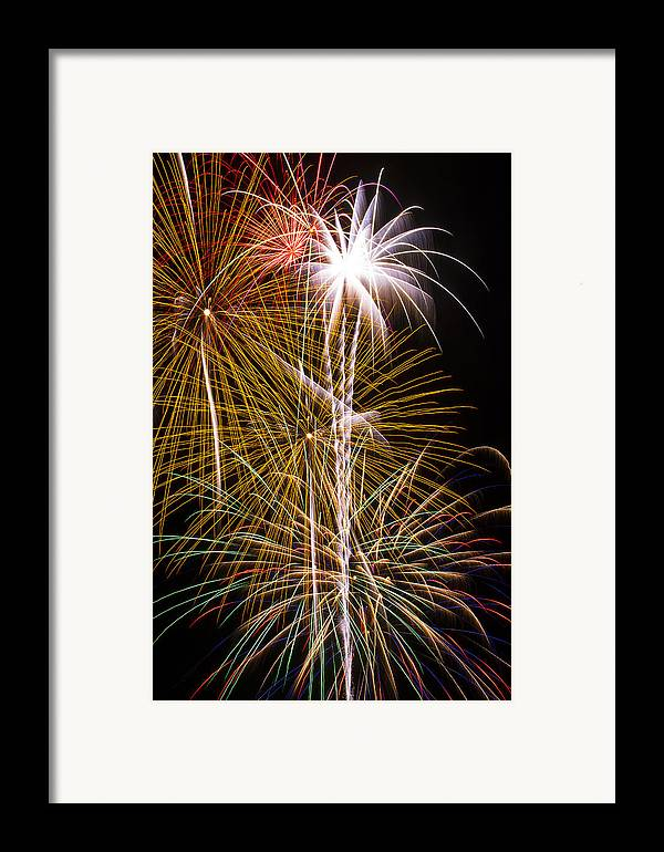 Awesome Fireworks Lights Up The Darkness Framed Print featuring the photograph Bright Bursts Of Fireworks by Garry Gay