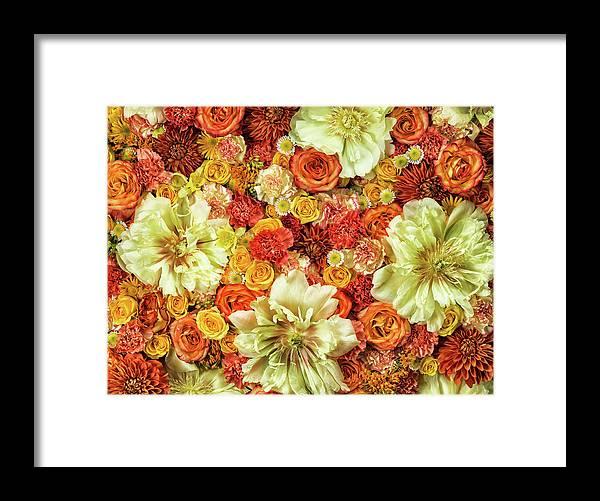 Tranquility Framed Print featuring the photograph Bright Flower Arrangement, Full Frame by Jonathan Knowles