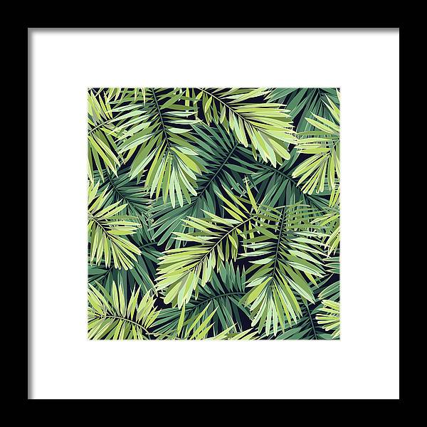 Tropical Rainforest Framed Print featuring the digital art Bright Green Background With Tropical by Msmoloko