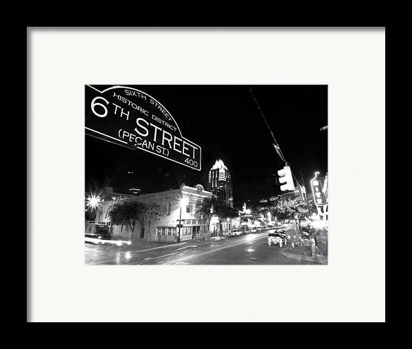 Austin Framed Print featuring the photograph Bright Lights At Night by John Gusky