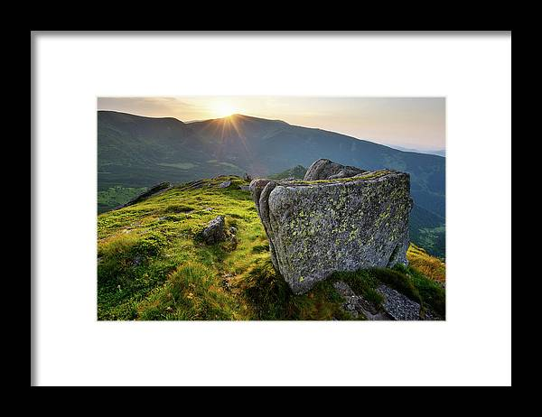 Scenics Framed Print featuring the photograph Bright Sunset Landscape In Mountains by Rezus