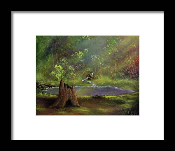 Stump Framed Print featuring the painting Brightening by Dawn Blair