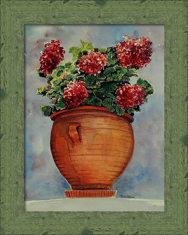 Painting Of A Pot Of Geraniums Framed Print featuring the painting Brightening The Day by Terri Meyer