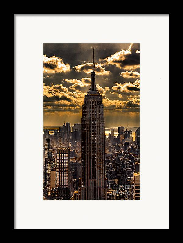 Empire State Building Framed Print featuring the photograph Brilliant But Hazy Manhattan Day by John Farnan