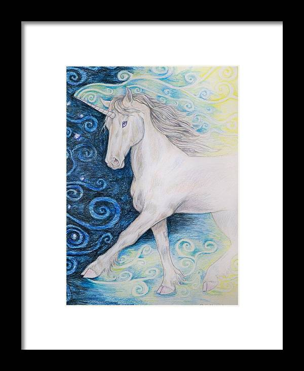 Unicorns Framed Print featuring the drawing Bringer Of The Dawn by Beth Clark-McDonal