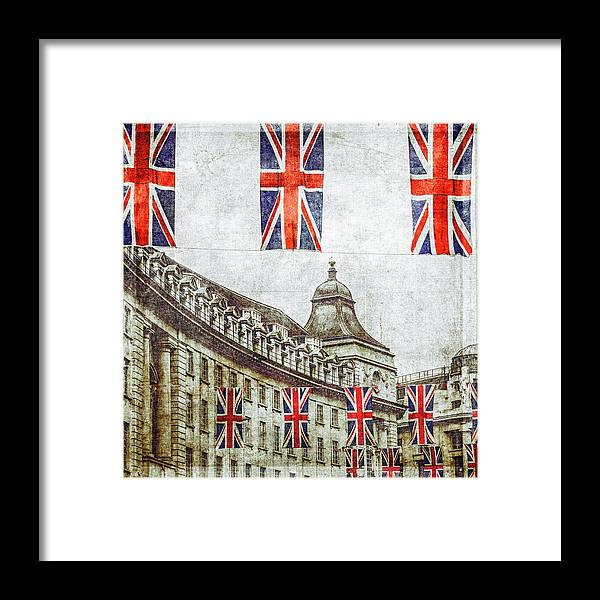 Hanging Framed Print featuring the photograph British Flags Flying Above Regent St by Doug Armand