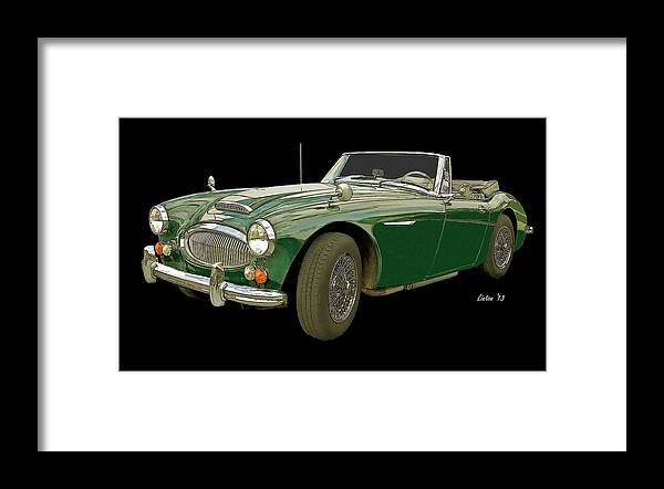 Austin Healey 3000 Framed Print featuring the digital art British Racing Green by Larry Linton