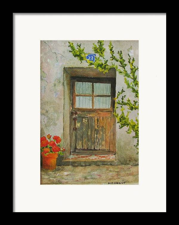 Door Framed Print featuring the painting Brittany Door by Mary Ellen Mueller Legault